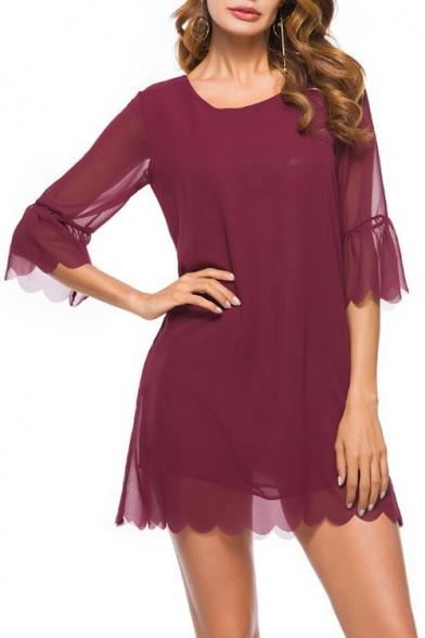 Spring Fashion Chiffon Petal Hem Round Neck Half Sleeve Mini Shift Dress