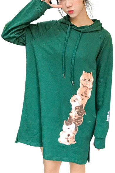 Spring New Collection Cats Letter Printed Long Sleeve Midi Hoodie Dress