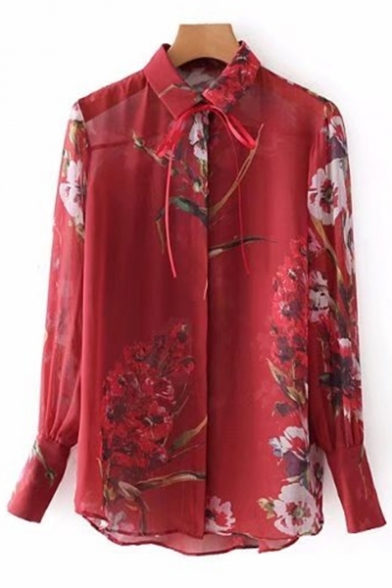 Front Shirt Button Sleeve Stylish Bow Long Tie Print Neck Floral Lapel 0wOvgaqA