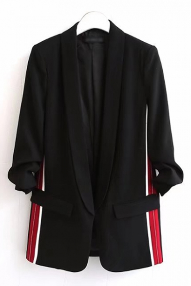 Trendy Striped Side Open Front Lapel Pocket Detail Ruched Sleeve Blazer