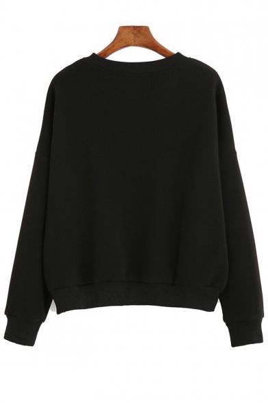 Round Unique Pullover Neck Print Sleeves Letter Sweatshirt Long gxpRH