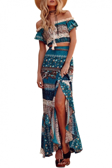 Cropped Beach with Front the Split Maxi Tribal Skirt Top Style Shoulder Off Print ZOrqOI