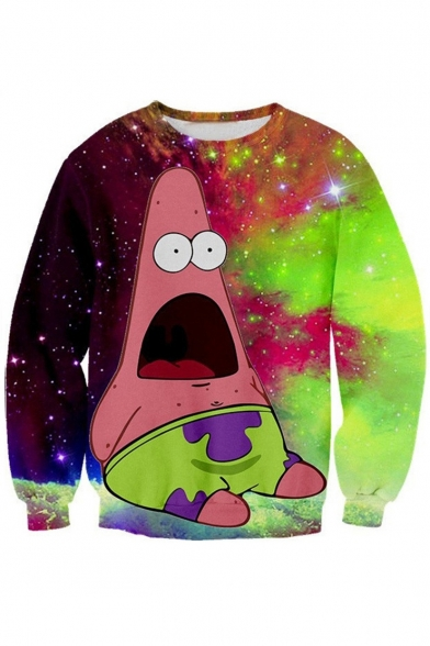 Color Block Cartoon Printed Round Neck Oversize Long Sleeve Pullover Sweatshirt