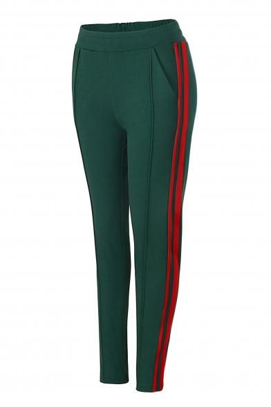 Contrast Striped Side Elastic Waist Leisure Skinny Pants