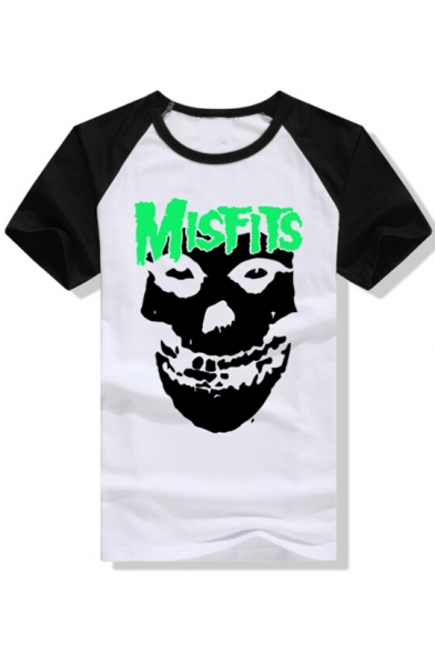 Cool Round Short Color Sleeves Fashion shirt T Block Print Letter Skull Neck wnAZqw7f6