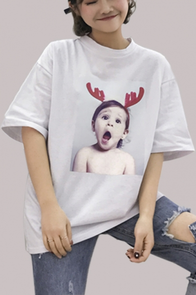 Print Baby Sleeves Horn Cute Character Summer Round Tee Half Neck AtAdwqT