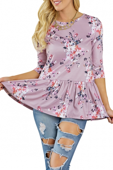 Floral Printed Round Neck 3/4 Length Sleeve Ruffle Hem Blouse