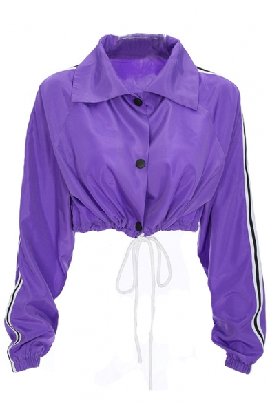 Hip Hop Style Lapel Collar Contrast Striped Long Sleeve Buttons Down Drawstring Waist Cropped Coat
