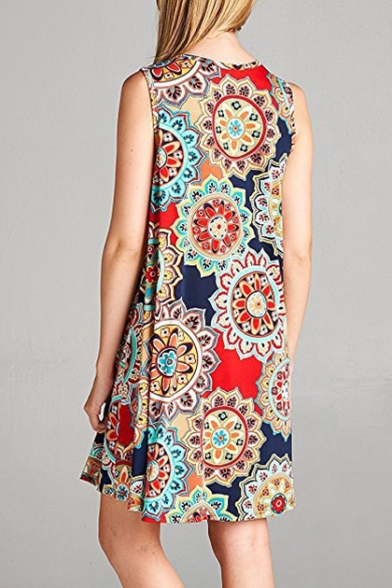Hot Popular Round Neck Floral Printed Sleeveless Mini A-Line Dress