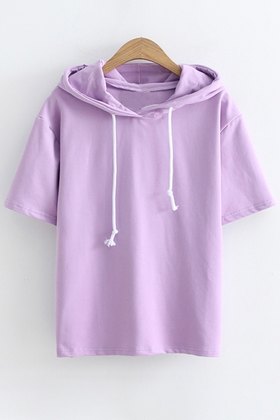 Short Print Lovely Summer Tee Sleeves Hooded Casual Cartoon Rabbit wRRPqEI6