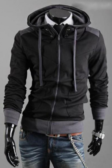 Men's Spring Fashion Zip Up Drawstring Hooded Color Block Long Sleeve Jacket