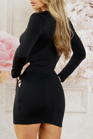New Arrival Sexy Hollow Out V Neck Long Sleeve Plain Mini Bodycon Dress