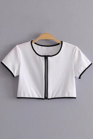 Contrast Pop Detail Zipper Cropped Trim Neck Round Sleeve Fashion Tee Short x66BSwqOF