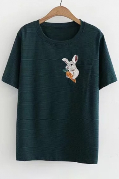 Detail Sleeve Rabbit Printed Pocket Tee Embroidered Neck Short Striped Round 51Z18rqFn