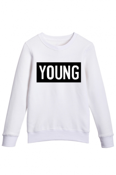 Long Pullover Letter Retro Sleeves Neck Print Round Sweatshirt IOIFwHx
