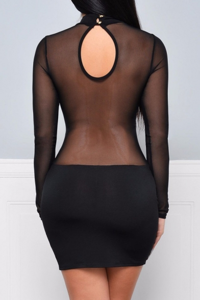 Sheer Mesh Insert Round Neck Long Sleeve Hollow Out Back Mini Bodycon Dress