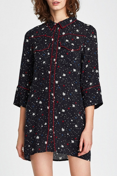 Stylish Star Galaxy Print Button Front Flap Pocket Mini Shirt Dress