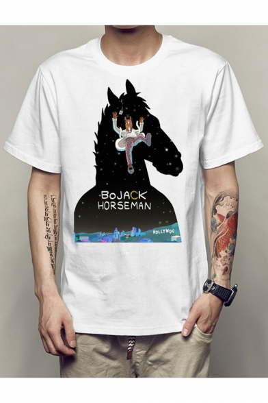 Sale Pattern Cartoon Neck Short Tee Round Horse Summer Sleeves Top Letter 7Ud7w