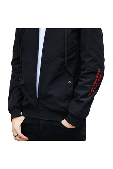 Embroidered Sale Long Letter Block Hooded Top Jacket Sleeves Zippered Color qEAyw