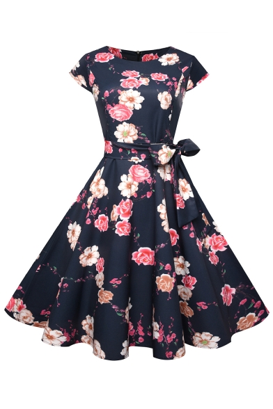 Trendy Floral Pattern Cap Sleeve Bow Belted Zip Back Midi Fit & Flare Dress