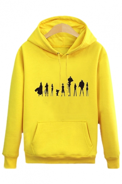 Unique Sleeves Print Hoodie with Pocket Pullover Long Cartoon Character rwHqrg