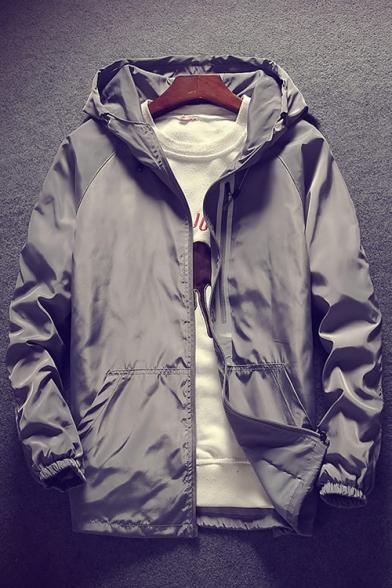Zipper Embellished Long Sleeve Plain Zip Up Hooded Coat with Pockets