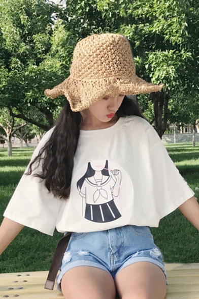 Adorable Girl Cartoon Print Chinese Embroidery Round Neck Half Sleeves Loose Leisure Tee