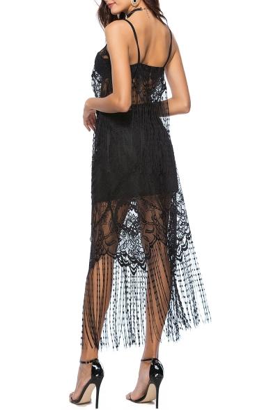 Boho Style Spaghetti Straps Lace Panel Cami with Tassel Hem Midi Skirt