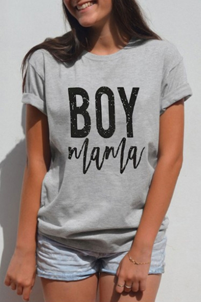 Comfort BOY Tee Leisure Round Short Printed Sleeve Neck Letter 4I4wO