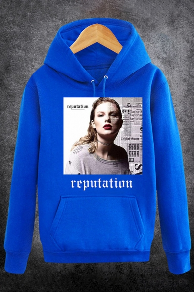 with Fancy Sleeves Singer Hoodie Letter Long Character Pullover Album Pocket Print BfBUPqp