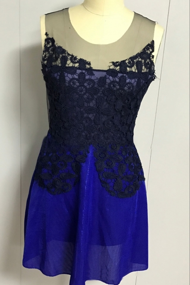 Fashionable Lace Panel Round Neck Sleeveless Patchwork Mini A-line Dress