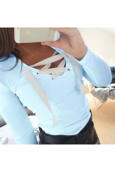 Up Neck Lace Long V Slim Front Fit Fashionable Sleeve Tee 5IUdwqIx