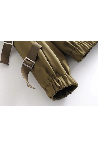 Girlish Strap Detail Zip Up Elastic Waist Hooded Plain Jacket
