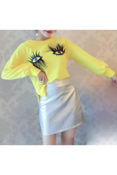 Hot Fancy Eyes Pattern Long Sleeve Top with High Waist Mini Skirt