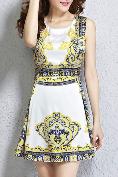 Lady Fashion Printed Round Neck Sleeveless Mini A-Line Dress