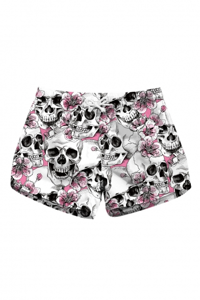 91ef72bab32 New Trendy Skull Floral Printed Drawstring Waist Beach Shorts -  Beautifulhalo.com