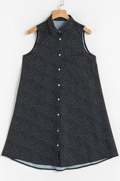 Peasant Polka Dot Printed Lapel Collar Sleeveless Buttons Down Mini A-Line Dress