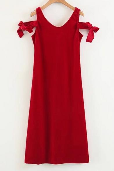 Popular Bow Tie Side V-Neck Plain Velvet Midi Tank Dress