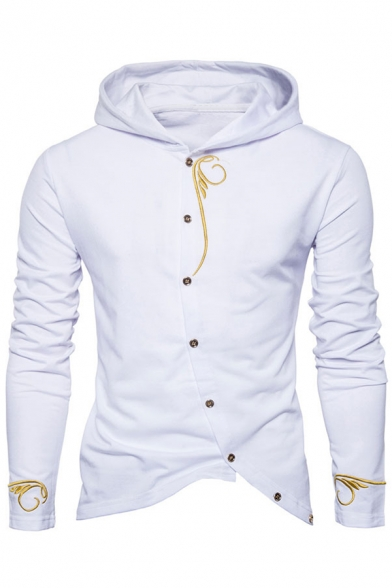 Sleeve Slim Fit Popular Long Front Fashion Hoodie Embroidery Detail Button wq1X8YH1