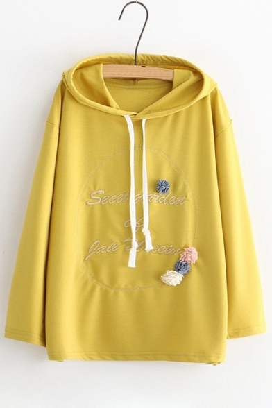 Long Loose Hoodie Popular Embroidered Leisure Floral Letter Embellished Sleeve IgZOc7Bwq