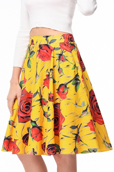 Retro High Waist Zipper Fly Floral Printed Midi A-Line Skirt