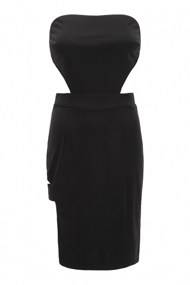 Sexy Split Side Plain Hollow Out Sleeveless Midi Tube Dress