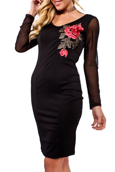 Sheer Mesh Long Sleeve Floral Embroidered V Neck Midi Bodycon Dress