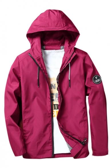 Men's Badge Spring Simple Detail Outdoor Up Jacket Zip Hooded HRfBwpgx
