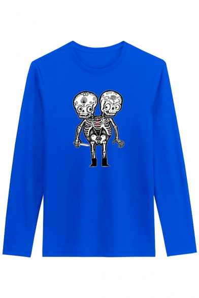 Skull Neck Leisure Style Tee Street Long Round Sleeve Cartoon Printed EwApAX8xqa