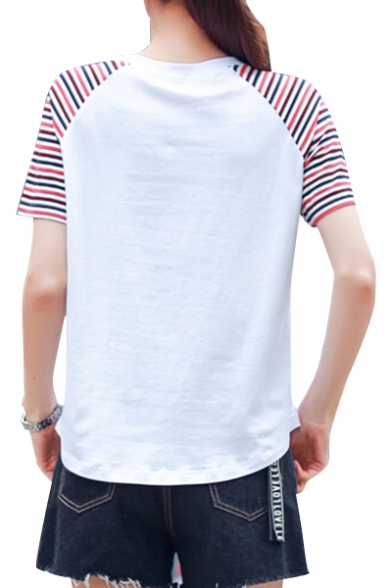 Raglan Tee Neck Short Striped Round Sleeve Leisure Colorful Fish Printed HZznwUdq