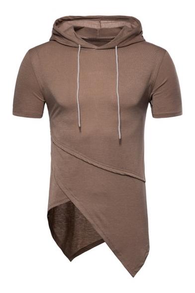Stylish Asymmetrical Hem Short Sleeves Hooded Men's Summer Tee