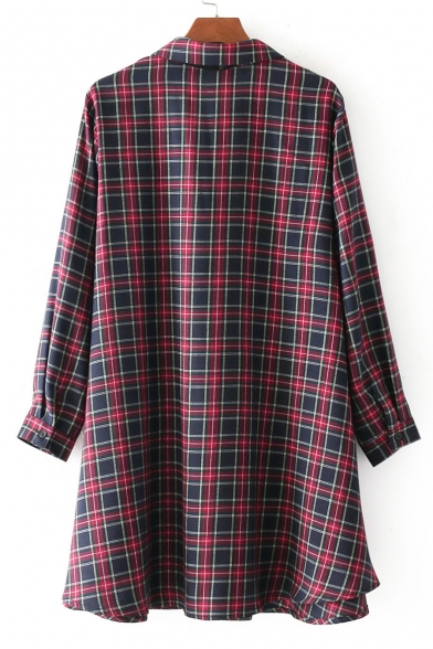 Lapel Long Dress Plaids Sleeve Mini Tartan Stylish Pattern Button Shirt Neck Bow Front ngtR7x