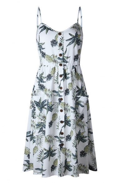 Summer Fashion Pineapple Leaf Print Button Pocket Detail Midi Cami Dress