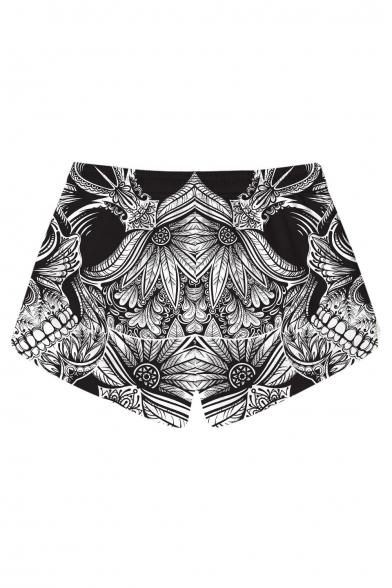Woman's New Stylish Skull Floral Printed Drawstring Waist Shorts with Pockets
